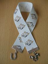Handmade Horse Head Ribbon Bookmark Charm Pony White Grey Mare Stallion Shoe