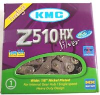 """KMC Z510HX Heavy-Duty Bike Chain 1/8"""" Single-Speed 113L BMX - Silver"""