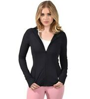 Yogalicious Long Sleeve Full Zip Up Hoodie Yoga Jacket Jersey Stretch Ruched M