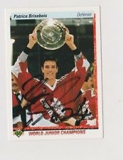 90/91 Upper Deck Patrice Brisebois Team Canada Autographed Hockey Card