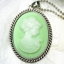 intenso verde Bella cabeza convexo Cameo Charm aleación de plata Mujer