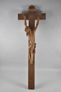 a70w02- Wandkreuz/ Kruzifix, Holz geschnitzt