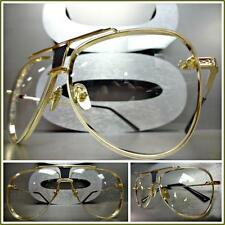 Mens or Women VINTAGE RETRO Style Clear Lens EYE GLASSES Unique Gold Metal Frame
