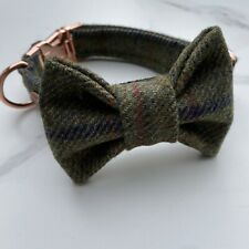 Barbour Green Tweed Dog Collar Bow Set Rose Gold Metal Buckle Countrywear