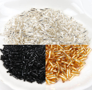 1000pcs Gold Silver Crystal Glass Spacer beads Czech Seed Tube Beads 6x2mm