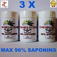 3 x 60 TRIBULUS TERRESTRIS PILL  96% Saponins Testosteron booster Strongest