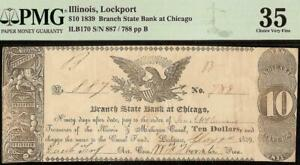 1839 $10 DOLLAR ILLINOIS, LOCKPORT CHICAGO BRANCH STATE BANK NOTE LARGE PMG 35