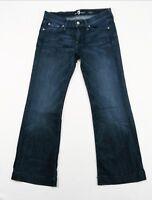 Seven 7 for all Mankind Dark Distressed DOJO Flare Leg Trouser Jeans, SZ 27 $198