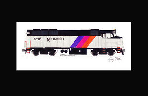 "NJ Transit F40PH #4118 11""x17"" Matted Print Andy Fletcher signed"
