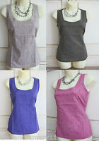 Ex Boden Appliqué Raw Edge Summer Vest Cotton Top Blue Pink Khaki Stone 6 - 22
