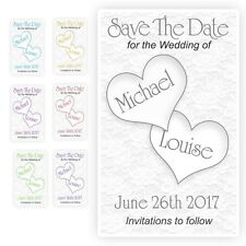100 Save the Date Evening Wedding Magnet Cards+ Envelopes Personalised Hearts