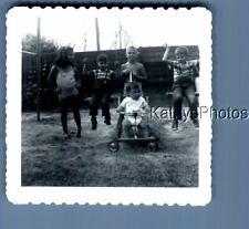 Found B&W Photo N_1168 Kids Sitting On Swings,Other In Stroller