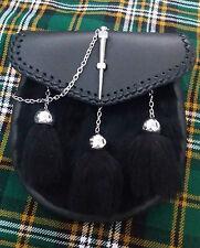 Men's Semi Dress Kilt Sporran Black Rabbit Fur Latch Pin Scottish Half Sporrans