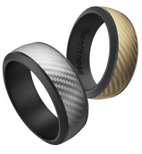 Ikonfittness 2 Color Silicone Rubber Wedding Ring for Men Women Comfortable Gift