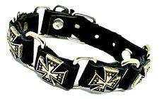 Biker Bracelet Croix Celtique Clouté Bouton de Manchette Vrai Cuir Punk Boucles