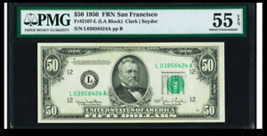 # SCARCE San Francisco  Fr. 2107-L $50 1950 Federal Reserve  PMG 55 EPQ