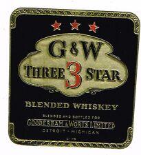 1930s Detroit Michigan Gooderham Worts 3 Star Whiskey Label Tavern Trove