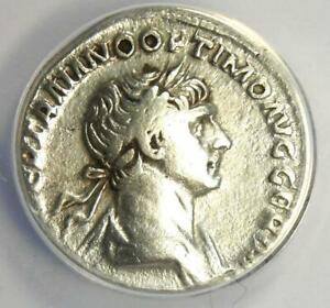 Roman Trajan AR Denarius Silver Coin 119-125 AD - Certified ANACS VF20