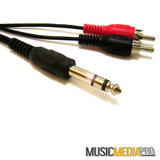 "5M Stereo 1/4"" 6.35mm jack Plug to RCA Cable Lead - DJ Home audio Studio DJ Lead"