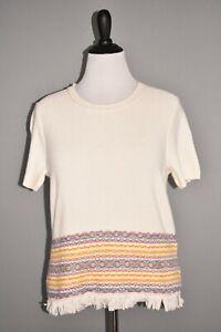 MADEWELL NEW $75 Fringed Jacquard Sweater Tee Short Sleeve Large