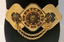 VTG 80s Salena's Collection Statement Lion Head Medallion Wide Belt Gold Chain