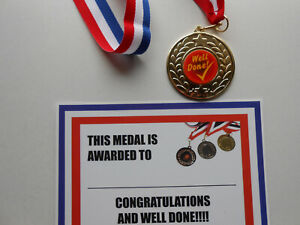 WELL DONE MEDAL - 50MM METAL - GREAT QUALITY - WITH RIBBON AND CERTIFICATE X 1