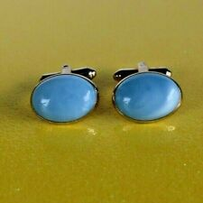 Vintage HICKOK Cuff Links Gold Tone Oval Faux Blue Moon Stone 3/4