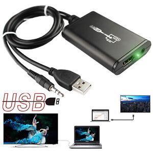 USB 2.0 To HDMI Video AV Converter Audio Adapter For PC Windows XP Vista 7 HD TV