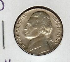 US 1943-D Jefferson Nickel Coin BU Brilliant Uncirculated Condition Full Steps