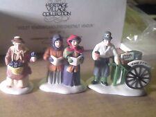 Dept 56 Violet and Chestnut Vendor Carolers 3pc Heritage Village In Orig Box