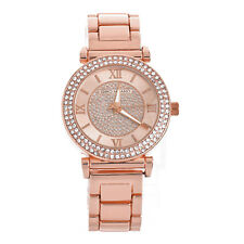 Lady's Women's Fashion CZ Iced Rose Gold Plated Metal Band Watches WM 8010 RG