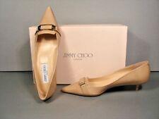 Jimmy Choo Valet Beige Logo Classic Patent Kitten Heel Pointy Toe PUMPS 36/6