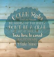 Ocean Rules Seashell Beach Design 12 x 12 Wood Pallet Design Wall Plaque