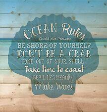 Ocean Rules Seashell Beach Design 12 x 12 Wood Pallet Design Wall Plaque