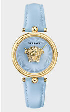Versace Women's Watch Palazzo Empire 34 mm IP Gold Blue Swiss Made VECQ00918