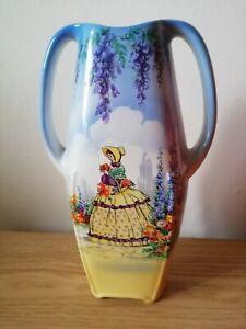 Vintage Falcon Ware Vase Crinolin Lady Cottage Garden  Blue/Yellow