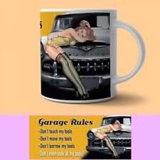 The Original Metal Sign Co Retro Art Mug Garage Rules Pin-Up