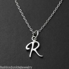 Tiny Initial Letter R Necklace - 925 Sterling Silver - Name R Letter Charm *NEW*