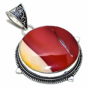 "Mookaite Gemstone Handmade Ethnic Silver Jewelry Pendant 2.4"" PSL365"