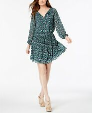 Michael Michael Kors Womens Raglan Navy Paisley Flounce Mini Dress L BHFO 1736