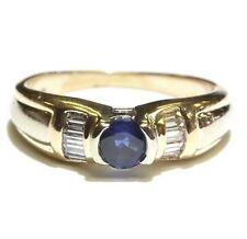 14k yellow gold .20ct VS1 G diamond sapphire bezel set gemstone womens ring 4.4g