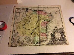 Brasilien etc   Kupferstichkarte  Seutter ca 1730 #PL8