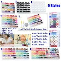72PCs Sewing Thread Set with Plastic Bobbins Sewing Machine Spools Case HOOT
