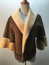 Alaia Taupe Brown Suede Shearling Jacket Coat With Fringe!