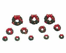 Lemax Decoration 'Wreaths with Red Bow', Christmas Cake Decorating, Set of 12