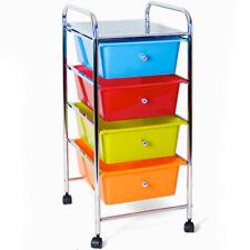 Carrello bagno 4 cassetti colorati acciaio cassettiera estetista con ruote