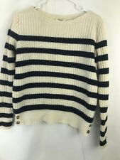 Madewell Women's Cropped Striped Long Sleeve Pullover Sweater Sz S 100% M. Wool