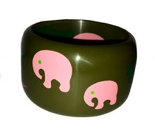 Bangle Bracelet Elephants And Tree French Designer Multi Color Marquetry Resin