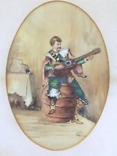 """19th Century Signed Watercolor """"Man playing Guitar"""""""