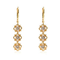 18k Yellow Gold With Cubic Zirconia Crystal Stud/Drop  Earrings Flower Blossom